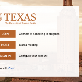 Main home page of UTexas Zoom